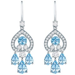 Garrard Iconic Regal Cascade 3.16ct Pearshape Aquamarine & Diamond Drop Earrings