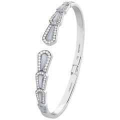 Garrard 'Fanfare' 18 Karat White Gold Bangle Diamonds White Mother of Pearl
