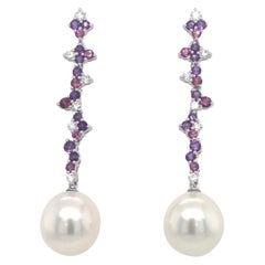 Amethyst Diamond Rhodonite Pearl Earrings 3.10 Carat 18 Karat