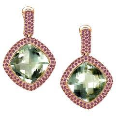 Alex Soldier Green Amethyst Garnet Rose Gold Drop Earrings One of a Kind