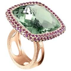 Alex Soldier Green Amethyst Garnet Rose Gold Textured Cocktail Ring
