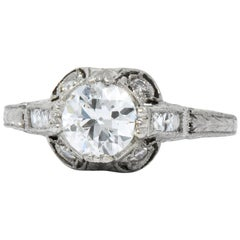 Edwardian 1.20 Carat Diamond Platinum Engagement Ring GIA