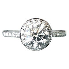 Tiffany & Co. Platinum and Diamond Round Engagement Ring .86 Carat H VVS2