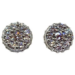 White Gold 1.48 Carat Total Weight Diamond Cluster Stud Earrings
