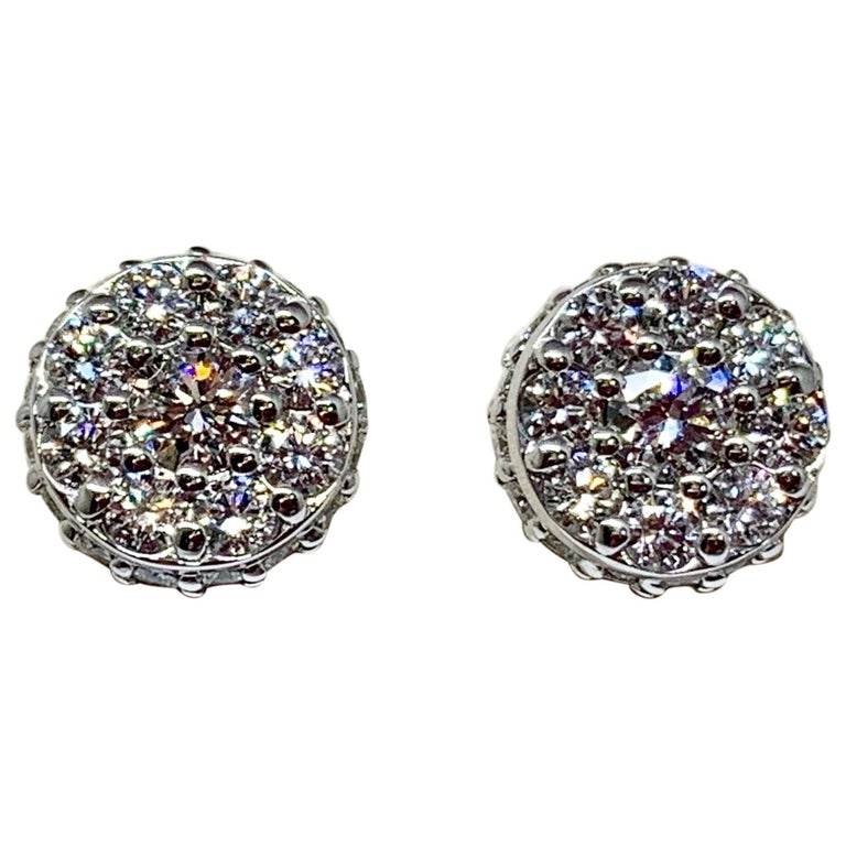 White Gold 1.48 Carat Total Weight Diamond Cluster Stud Earrings For Sale