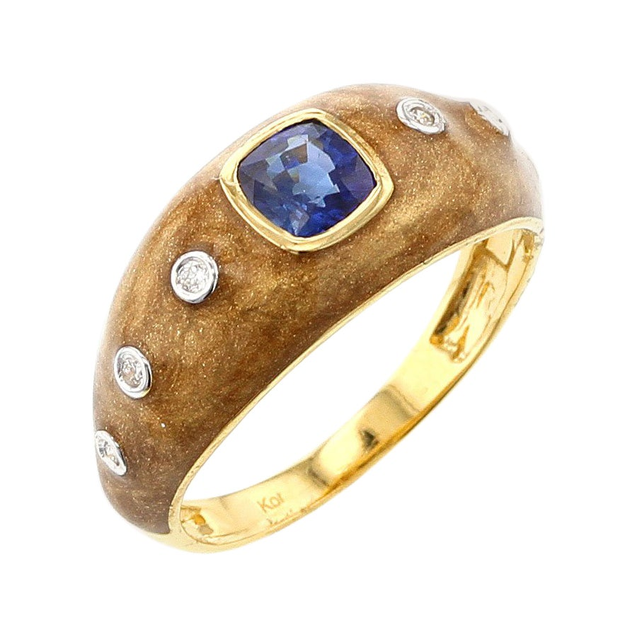 Brown Enamel Ring with Blue Sapphire and Diamonds, 18 Karat Yellow Gold