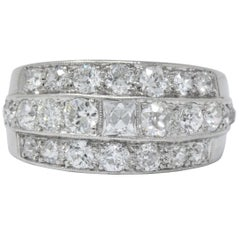Art Deco 2.90 Carat Diamond Platinum Band Ring