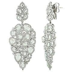 Studio Rêves 18K White Gold Brilliant cut and Rose cut Diamond Dangling Earrings