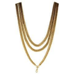 Solid 18 Karat Rare Extra Long Victorian Curb Necklace