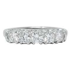 Retro 0.90 Carat Diamond Platinum Anniversary Band Ring