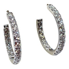 White Gold 1.30 Carat Total Weight Round Diamond Inside-Outside Hoop Earrings