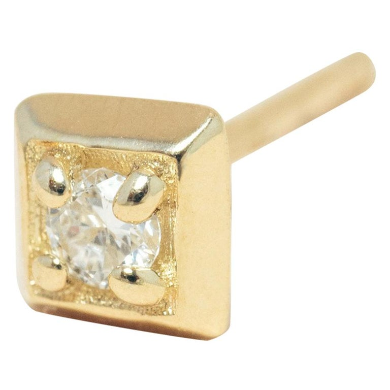 Diamond 14 Karat Gold Formation Square Mini Stud For Sale