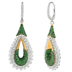 Studio Rêves Rose Cut Diamond and Tsavorites Dangling Earrings in 18 Karat Gold