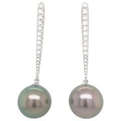 Tahitian Pearl Diamond Drop Earrings 0.43 Carat 18 Karat
