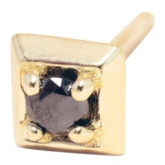 Black Diamond 14 Karat Gold Formation Square Mini Stud