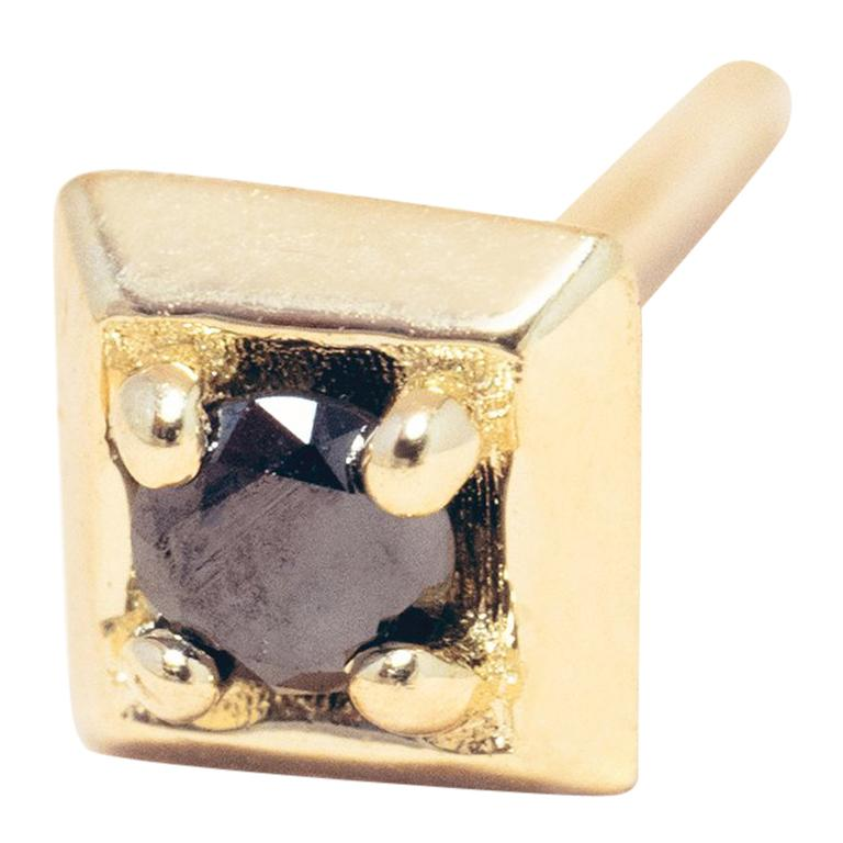 Black Diamond 14 Karat Gold Formation Square Mini Stud For Sale