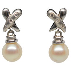 14 Karat White Gold Akoya Pearl Diamond Drop Earrings