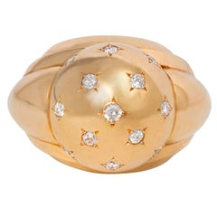 French 1940s Gold and Star-Set Diamond Domed Ring
