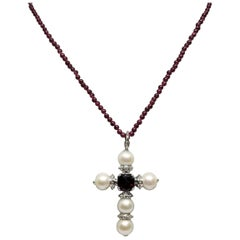 Sterling Silver Fresh Water Pearl Cross with 5 Pearl Pendant