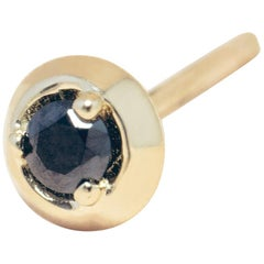 Black Diamond 14 Karat Gold Formation Circle Mini Stud