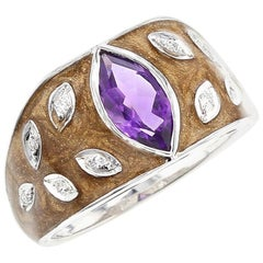 Brown Enamel Ring with Amethyst and Diamonds, 18 Karat White Gold