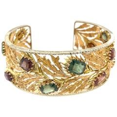 Mario Buccellati 18 Karat Yellow Gold Multicolored Gemstones Leaf Bracelet
