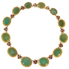 Late Georgian Gold and Graduated Chrysoprase Necklace with Ruby Accents