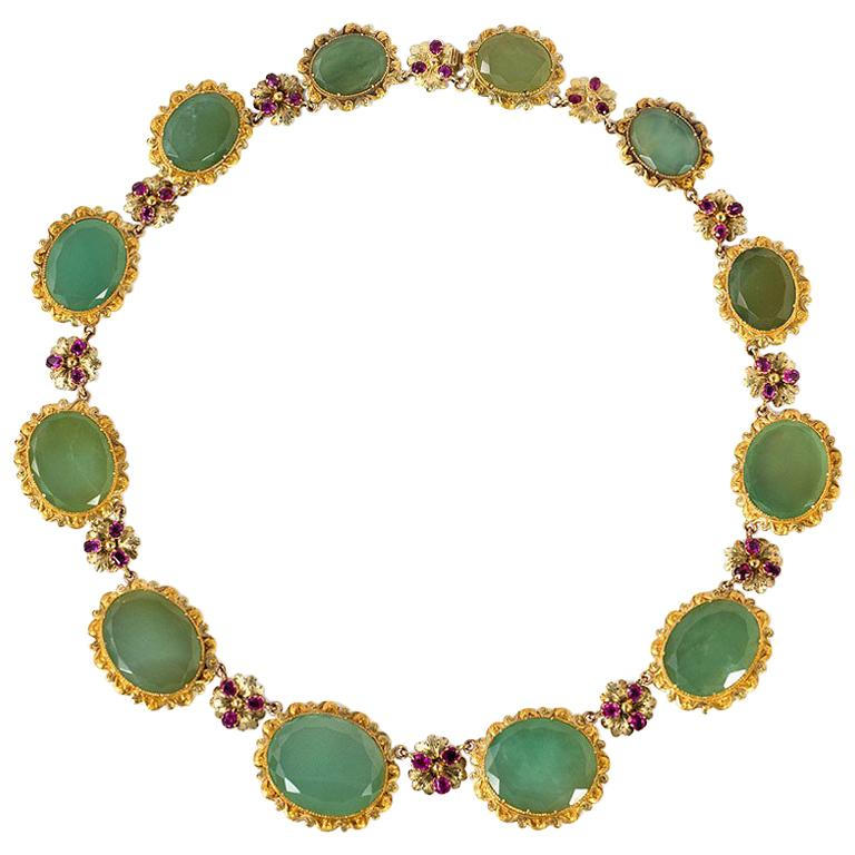Late Georgian Gold and Graduated Chrysoprase Necklace with Ruby Accents For Sale