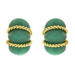 Valentin Magro Green Aventurine Gold Shrimp Earrings