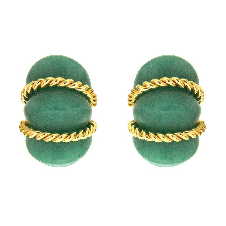 Valentin Magro Green Aventurine Gold Shrimp Earrings For Sale