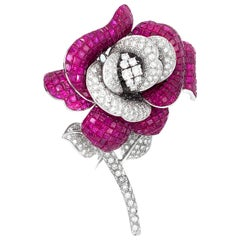 18 Karat White Gold Ruby and Diamond Brooch