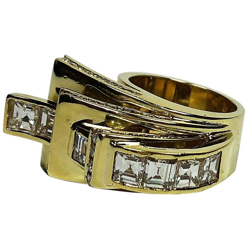 Over the Top Retro Style Gold and Diamond Ring
