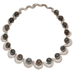 Black Pearl Diamond Necklace