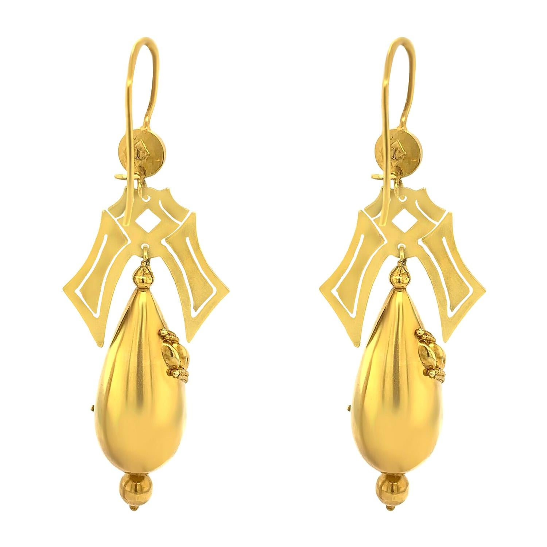Victorian 18 Karat Yellow Gold Earrings