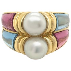 Bvlgari 18 Karat Yellow Gold Touramline and Aquamarine Cultured Pearl Ring