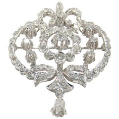 14 Karat Georgian Diamond Pendant Pin Brooch White Gold