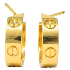 Cartier 18 Karat Gold Love Hoop Earrings