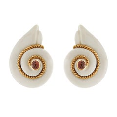 Valentin Magro Smooth Snail Cacholong Earrings with Pink Tourmaline Centre