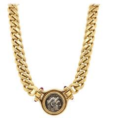 Bvlgari 18 Karat Yellow Gold Link Necklace Set with Roman Coin