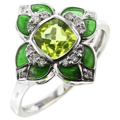 Floral Green Enamel Ring with Peridot and Diamonds