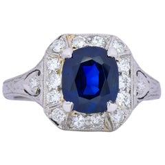 Art Deco 2.86 Carat No Heat Sapphire Diamond Platinum Ring AGL
