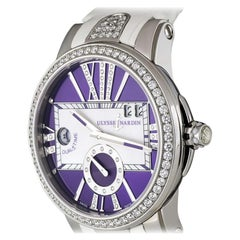 Ulysse Nardin Executive Dual Time Lady Stainless Steel Diamond Bezel Watch