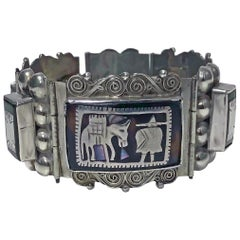 Large 1930s Mexican Sterling Silver Inlay Bracelet