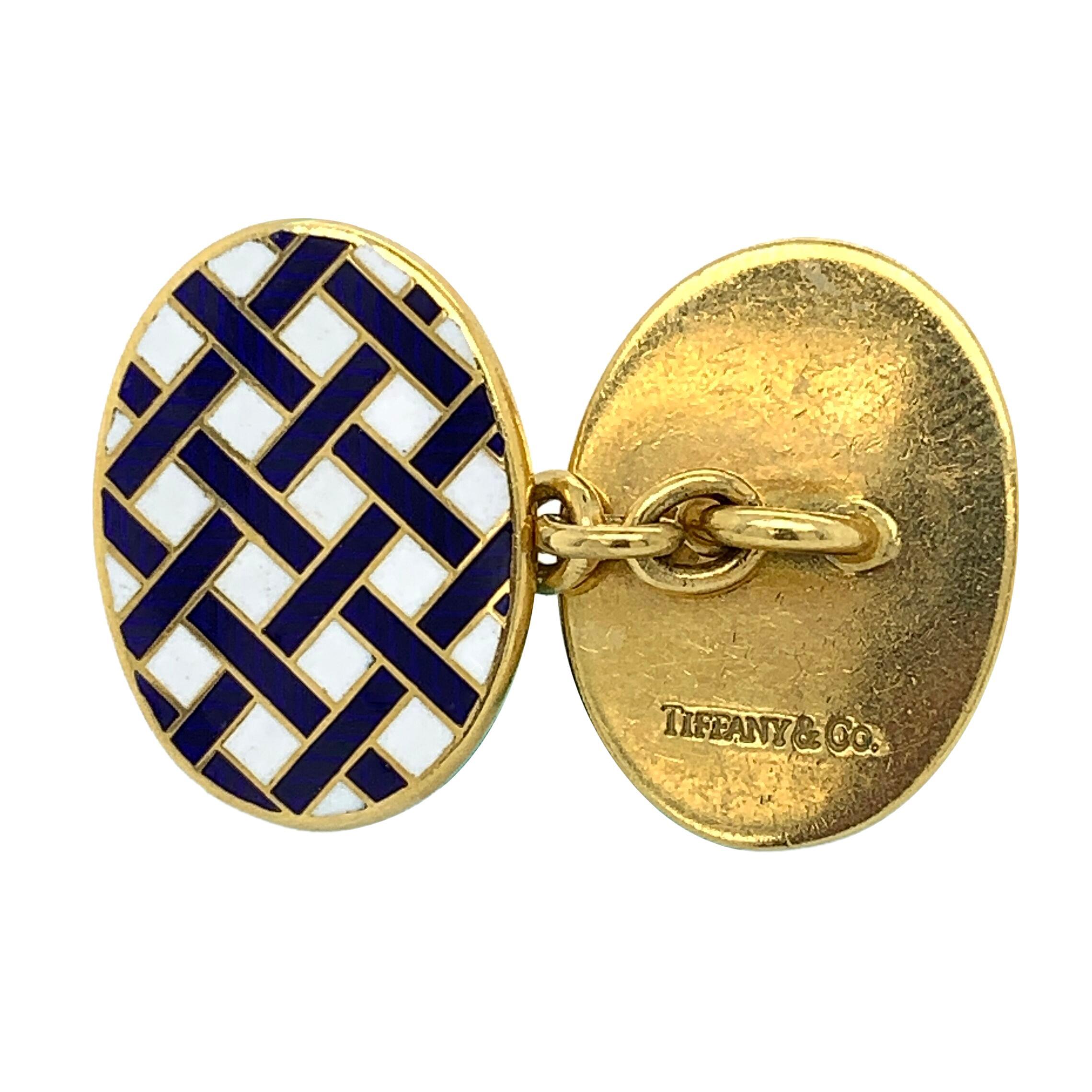 Tiffany & Co 18 Karat Yellow Gold Enamel Cufflinks