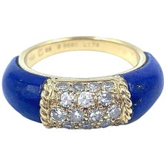 Van Cleef & Arpels Blue Lapis and Diamond Ring in 18 Karat Yellow Gold