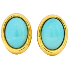 Tiffany & Co. 1981 Turquoise 18 Karat Gold Earrings