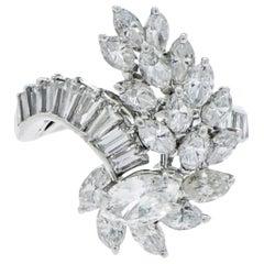 Platinum Waterfall Swirl Diamond Cocktail Ring