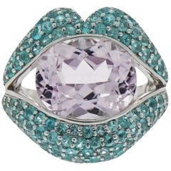 "Kunzite and Paraiba Tourmaline ""Kiss Me"" White Gold Ring by Loretta Castoro"