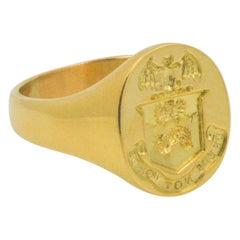 18 Karat Yellow Gold Stamped English Crest 'Words Not Deeds' Signet Ring