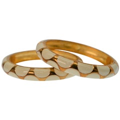 1960s Faux Gold and Enamel Cuff Bracelets